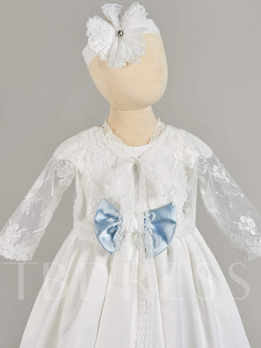 Lace Sleeves Bowknot Baby Girl's Christening Gown