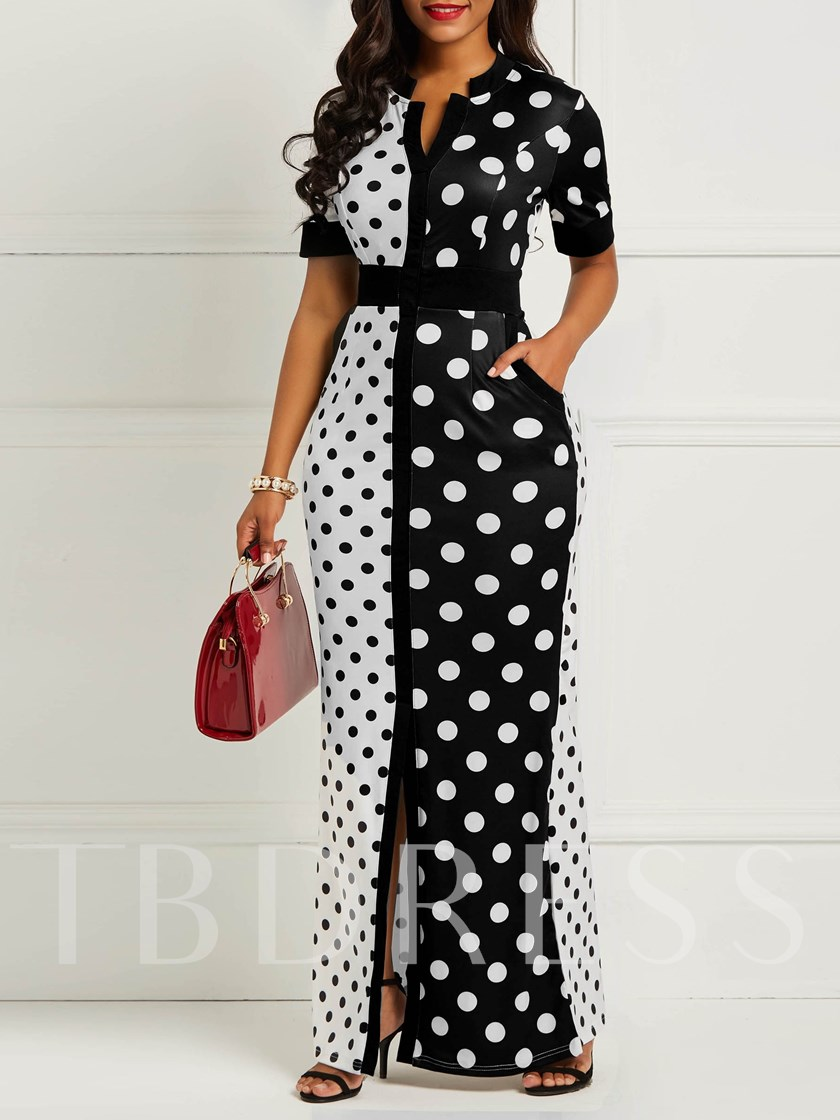 Pocket Short Sleeve Polka Dots Women's Maxi Dress