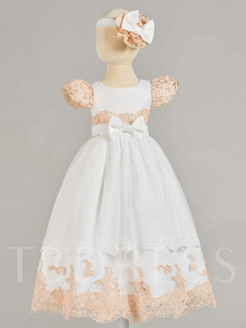 Lace Cap Sleeve Bowknot Baby Girl's Christening Gown