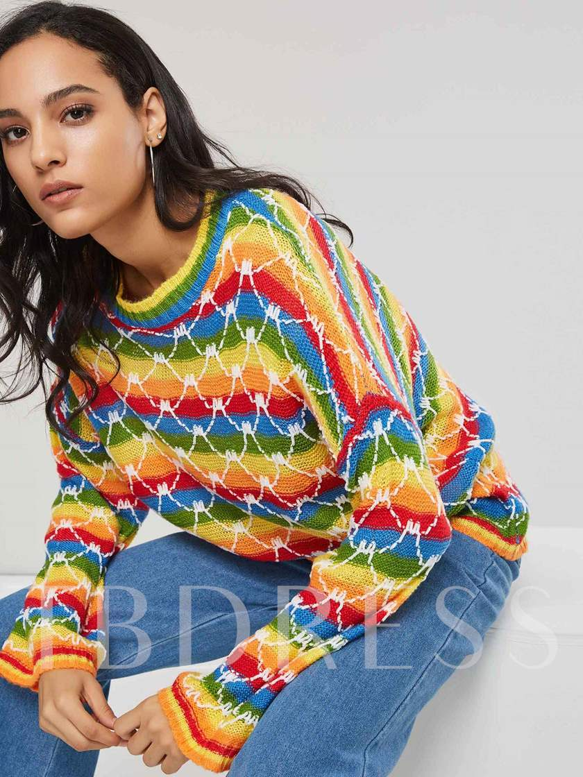 Color Block Scoop Neck Bell Sleeve Pullover Women's Sweater