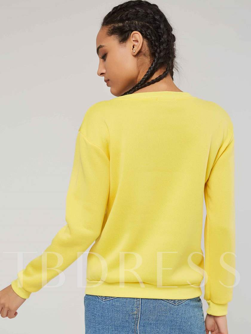 Simple Letter Print Scoop Neck Women's Sweatshirt