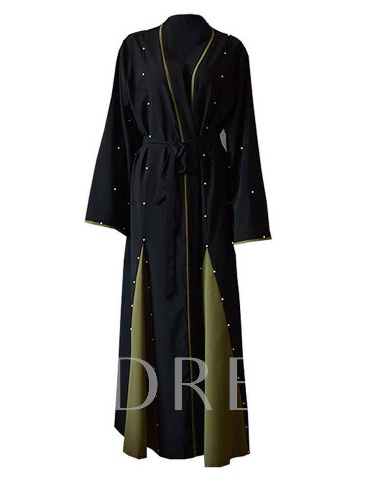 Beading Pleated Flare Sleeve Lace Up Women's Trench Coat