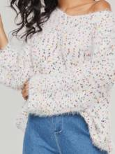 Round Neck Loose Fit bell Sleeve Women's Sweater