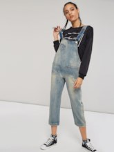 Denim Pocket Front Button Straight Women's Overalls