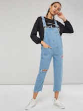 Pocket Front Ripped Women's Overalls
