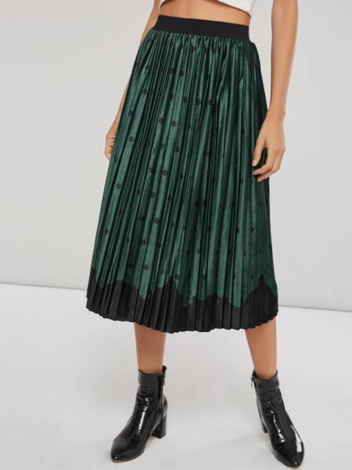 Elastic Waist Pleated Color Block Women's Skirt