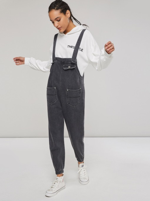Pocket Front Button Harem Women's Overalls