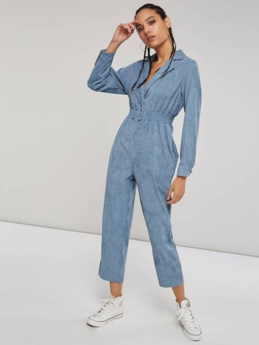 Button Straight V Neck Long Sleeve Women's Jumpsuit