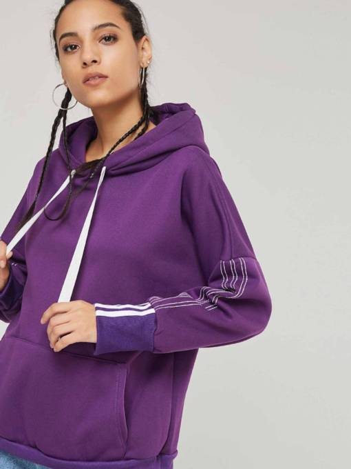 Plain Fleece Contrast Color Women's Hoodie