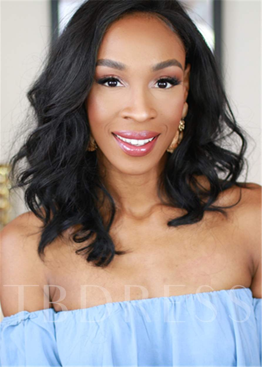 Shoulder Length Wavy Human Hair Capless Wig For Black Women