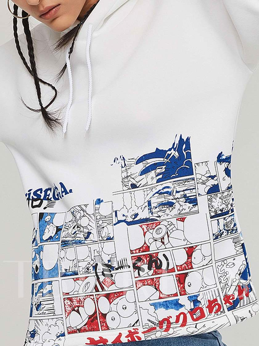 Plain Cartoon Print Pullover Women's Hoodie
