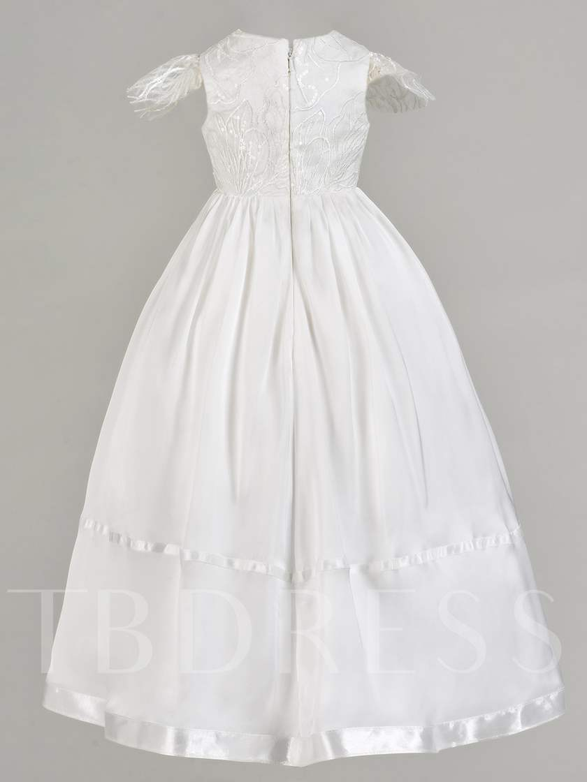 Sequins Flowers Cap Sleeve Baby Girl's Christening Gown