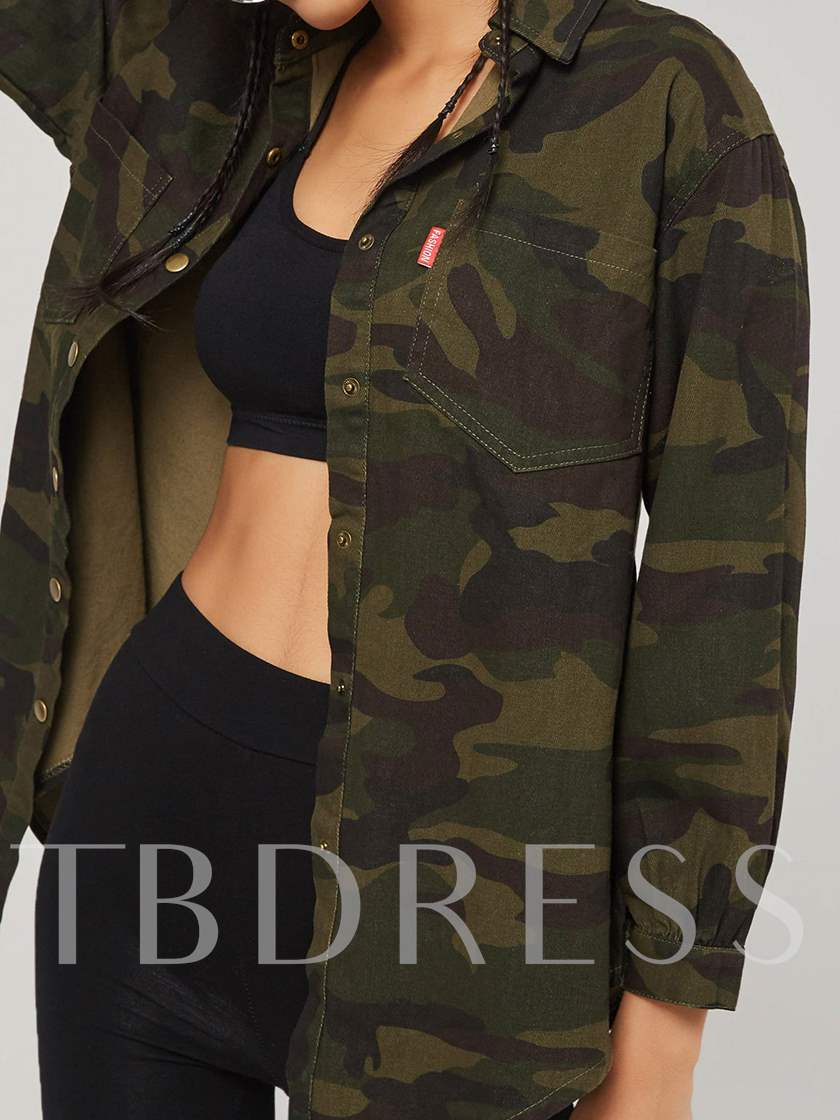 Camouflage Zipper Up Army Green Women's Jacket