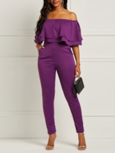 Full Length Color Block Casual Backless Mid-Waist Women's Jumpsuits