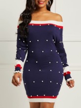 Bead Off Shoulder Long Sleeve Color Block Women's Bodycon Dress
