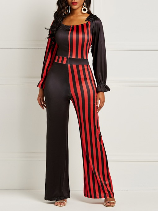 Stripe Full Length Patchwork Skinny Women's Jumpsuit
