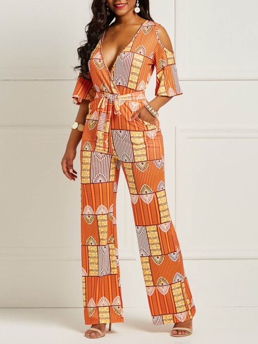 Print Full Length Color Block Wide Legs Women's Jumpsuit