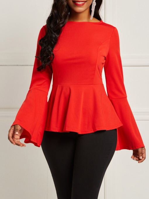 Plain Flare Sleeve Slim Women's Blouse