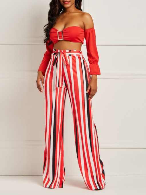 Stripe Backless Sexy Wide Legs Women's Two Piece Sets