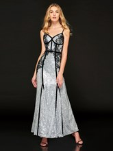 A-Line Spaghetti Straps Sequins Lace Prom Dress