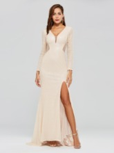 Sheath Sequins Split-Front V-Neck Evening Dress
