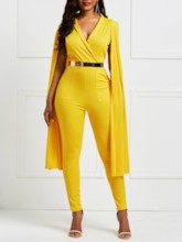Full Length Plain Pocket Straight Women's Jumpsuits