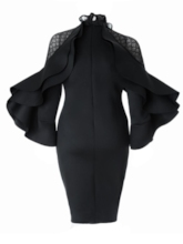 Plus Size Black Long Sleeve Falbala Bodycon Dress