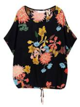 Plu Size Tie Front Short Sleeve Floral Printed Women's T-Shirt