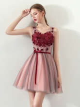 A-Line Appliques Bowknot Sashes Homecoming Dress