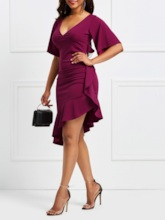 V-Neck Half Sleeve Patchwork Asymmetrical Women's Bodycon Dress