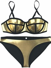 Metal Texture Color Block 2-Pcs Bikini Bathing Suits