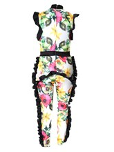 Floral Print Ruffled Women's Jumpsuit