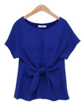 Plain Bow Tie Front Solid Color Women's T-Shirt