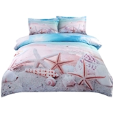 Starfish and Shells on the Beach Printed Cotton 4-Piece 3D Bedding Sets/Duvet Covers