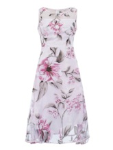 Pink Patchwork Floral Women's Day Dress