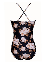 Spaghetti Strap Floral V Neck One Piece Bathing Suits