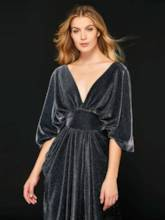 V-Neck Draped Empire Waist Evening Dress