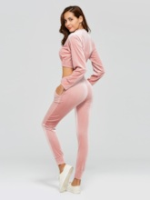 Velvet Zipper Hoodie and Pants Women's Two Piece Set