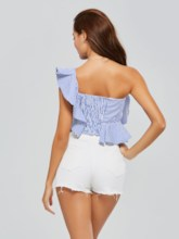 Ruffles Crop Off Shoulder Women's Tank Top