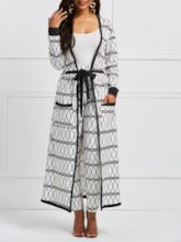 Geometric Long Sleeve Trench Coat and Pants Women's Two Piece Set