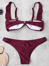 Burgundy Plain Pleated 2-Pcs Bikini Bathing Suits