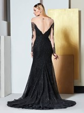 Illusion Neck Lace Sequins Evening Dress with Long Sleeves
