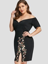 Plus Size Short Sleeve Backless Prints Bodycon Dress