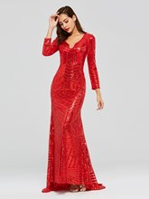 Mermaid Long Sleeves Red Sequins Evening Dress