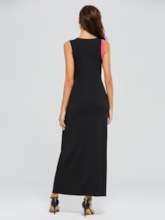 Black Color Block Cotton Sleeveless Maxi Dress