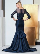 Beading Appliques Mermaid Evening Dress with Sleeves