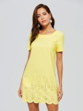 Yellow Short Sleeve Chiffon A-Line Day Dress