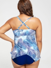 Hollow Leaf pattern Off-Shouder Plus Size Swimwear