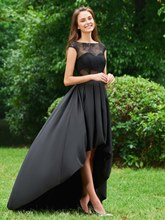 A-Line Bateau Button Draped Lace High Low Prom Dress