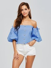 Chic Button-Down Puff Sleeve Women's Blouse